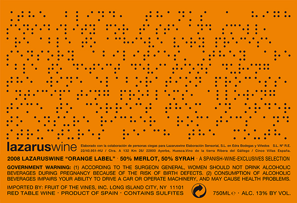 Lazarus Wine Orange Label 2008 wrap around label