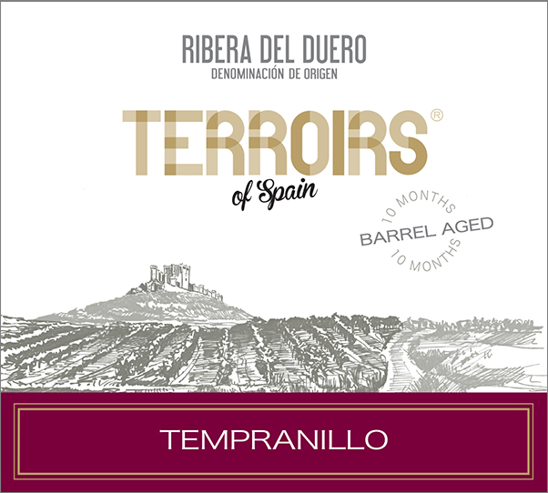 Terroirs of Spain Ribera del Duero Barrel Aged Tempranillo label
