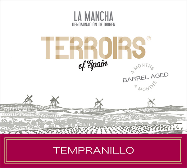 "Terroirs of Spain La Mancha ""Barrel Aged"" Tempranillo Label"