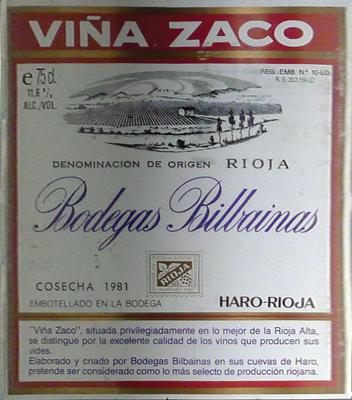 """Bilbainas """"Viña Zaco"""" Reserva 1981"""
