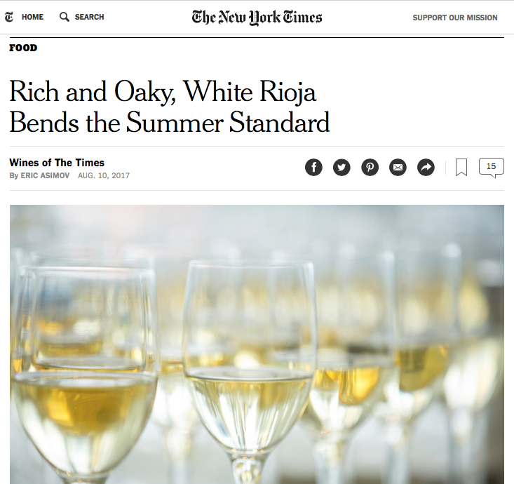 August 10, 2017 NY Times White Rioja screen grab